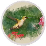 Hummingbird - Watercolor Art Round Beach Towel