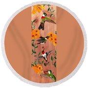 Hummingbirds On Cedar Round Beach Towel