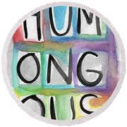 Humongous Word Painting Round Beach Towel