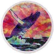 Humpback Whale Digital Color Round Beach Towel
