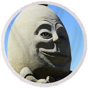 Humpty Dumpty Sand Sculpture Round Beach Towel by Bob Christopher