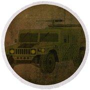 Humvee Midnight Desert  Round Beach Towel