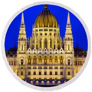 Hungarian Parliament At Twilight Round Beach Towel