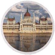 Hungarian Parliament Budapest Round Beach Towel
