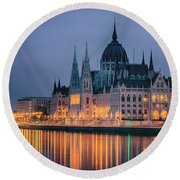 Hungarian Parliament Dawn Round Beach Towel