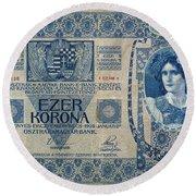 Hungary Banknote, 1902 Round Beach Towel