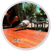 Hungry Pigeon At Mcdonalds Round Beach Towel