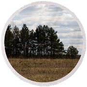 Hunter's Raised Blind In A Spring Field Round Beach Towel