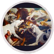 Hunting Dogs Detail 2 Round Beach Towel