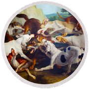 Hunting Dogs Detail Round Beach Towel