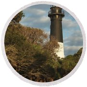 Hunting Island Lighthouse 1 Round Beach Towel