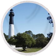 Hunting Island Lighthouse Sc Round Beach Towel