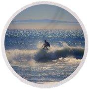Huntington Beach California Surfer Round Beach Towel