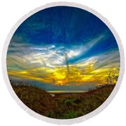 Huron Evening 2 Oil Round Beach Towel