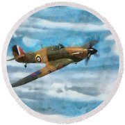 Hurricane Fighter Watercolour Round Beach Towel