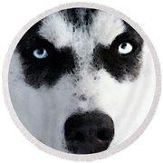Husky Dog Art - Bat Man Round Beach Towel