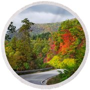 Hwy 281 In The Fall  Round Beach Towel