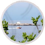 Hydra Island During Springtime Round Beach Towel