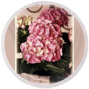 Hydrangea On The Veranda Round Beach Towel
