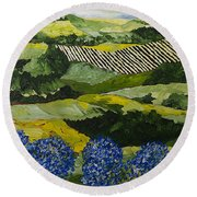 Hydrangea Valley Round Beach Towel