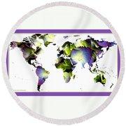 Hydrangea World Map Round Beach Towel