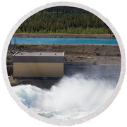 Hydro Power Station Dam Open Gate Spillway Water Round Beach Towel