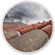 Hydroelectric Plant In Renewable Energy Concept Round Beach Towel