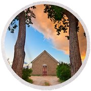 Hygiene Colorado Church Of The Brethren 1880 Sunset Round Beach Towel