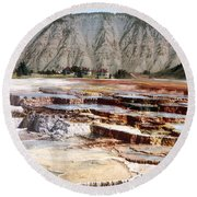 Hymen Terrace Yellowstone National Park Round Beach Towel