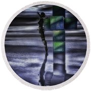 Hypercube Reflections Round Beach Towel