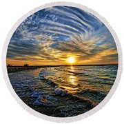 Hypnotic Sunset At Israel Round Beach Towel by Ron Shoshani