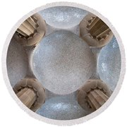 Hypostyle Room Ceiling In Park Guell Round Beach Towel
