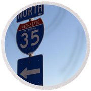 I 35 N. Oklahoma Round Beach Towel