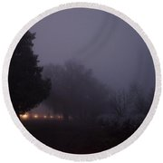 I-5 In A Frozen Fog Round Beach Towel