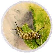 I Am Very Hungry - Monarch Caterpillar Round Beach Towel