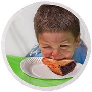 I Don't Want To - Pie Eating Contest Art Prints Round Beach Towel