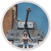 I Have A Tank.  Your Argument Is Invalid Round Beach Towel