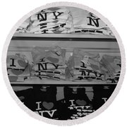 I Heart Ny In Black And White Round Beach Towel