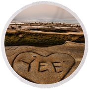 I Heart Yee Round Beach Towel