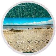 I Heart You Shores Of Lake Michigan Round Beach Towel