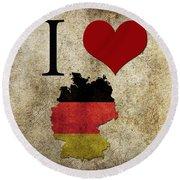 I Love Germany Round Beach Towel