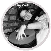 I Love My Guitar Series Bw Round Beach Towel