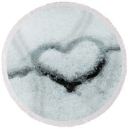 I Love The Winter Snow Round Beach Towel