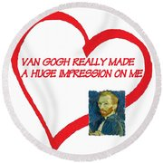 I Love Van Gogh Round Beach Towel