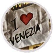 I Love Venezia Round Beach Towel