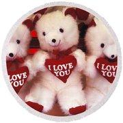 I Love You Bears Round Beach Towel