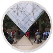 I M Pei Pyramid Inside The Louvre Entrance Round Beach Towel