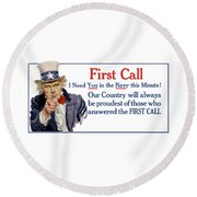 I Need You In The Navy - Uncle Sam Wwi Round Beach Towel