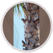 I See You Two Above Me Round Beach Towel