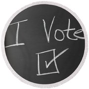 I Voted Sign On Chalkboard Round Beach Towel